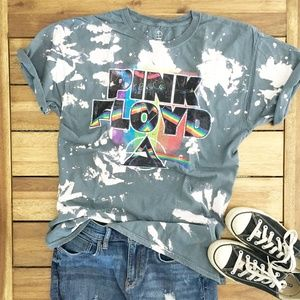 Tops - Pink Floyd Band Graphic Tee T-shirt Bleached New!